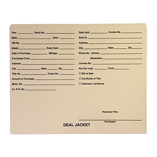 amazon com pre printed auto dealer vehicle deal jackets red box