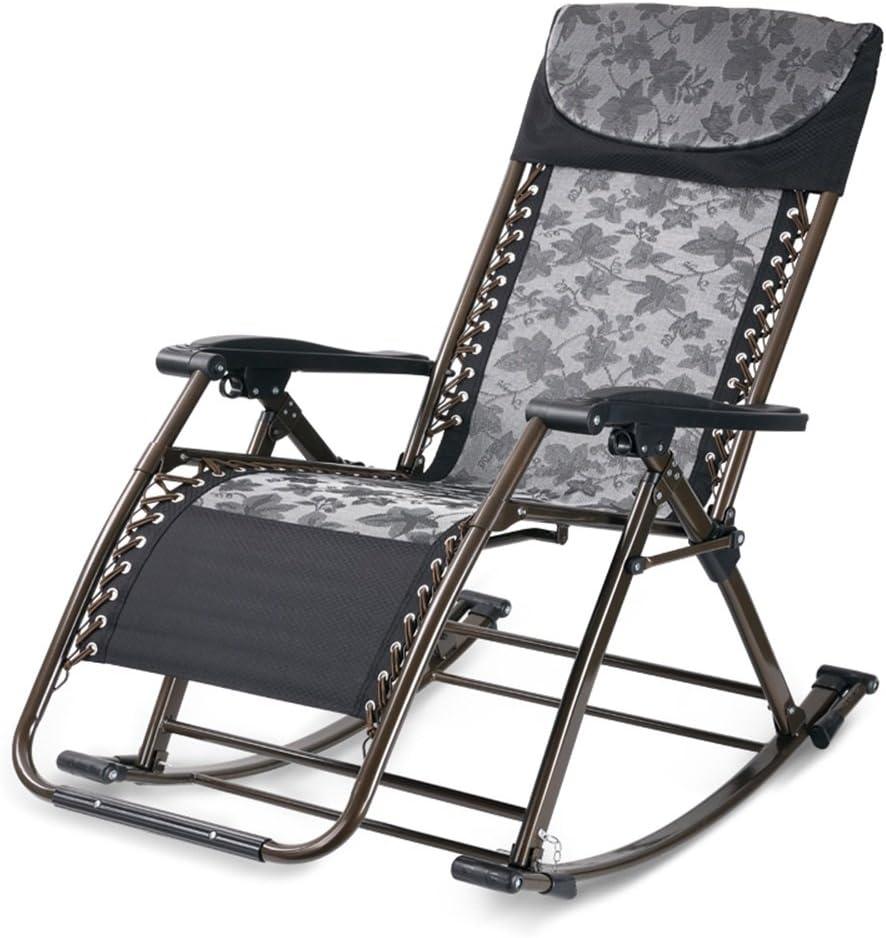 Silla Plegable Patio Terraza Cómodo Camping Cubierta de Playa Plegable Reclinable portátil Sofá Sillón Lounge Relajación Lazy Relax (Color : Black)