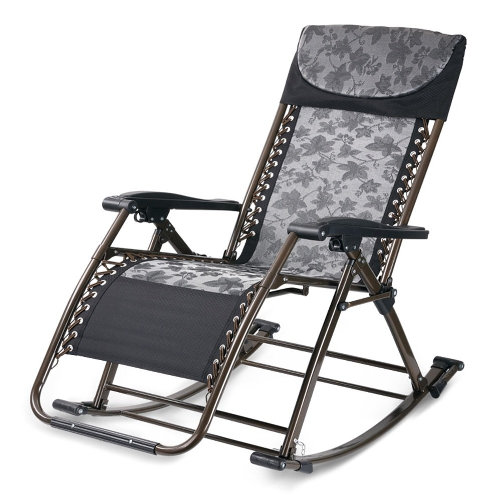 Multifunctional rocking chair / health chair recliner / folding living room dual chairs office 96 136cm ( Color : Black )