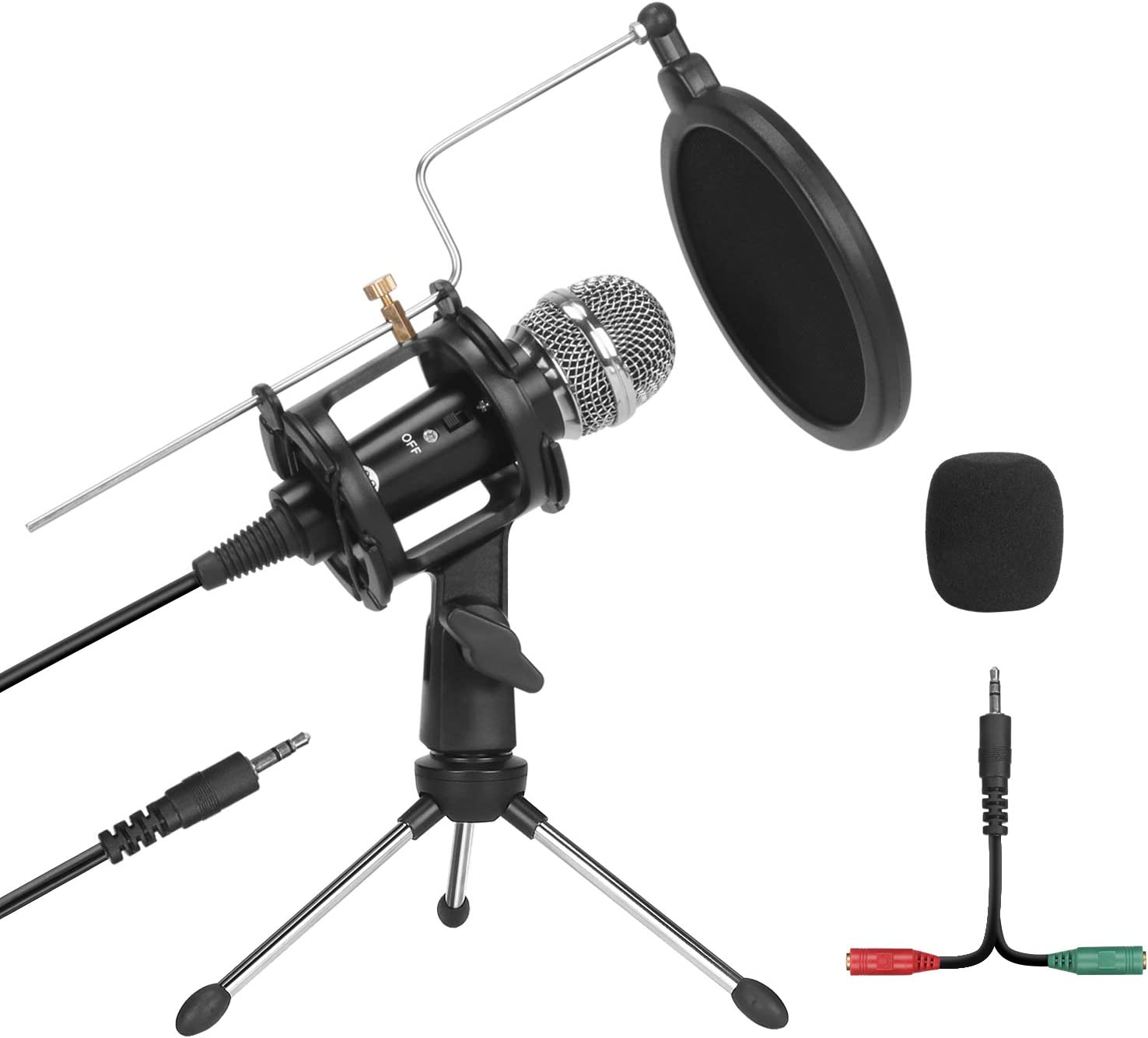 PEMOTech Studio Recording Microphone,Condenser Plug and Play PC Microphone for Podcast Recording,3.5mm Microphone with Pop Filter for Broadcast Desktop Laptop Sing Phone Skype YouTube