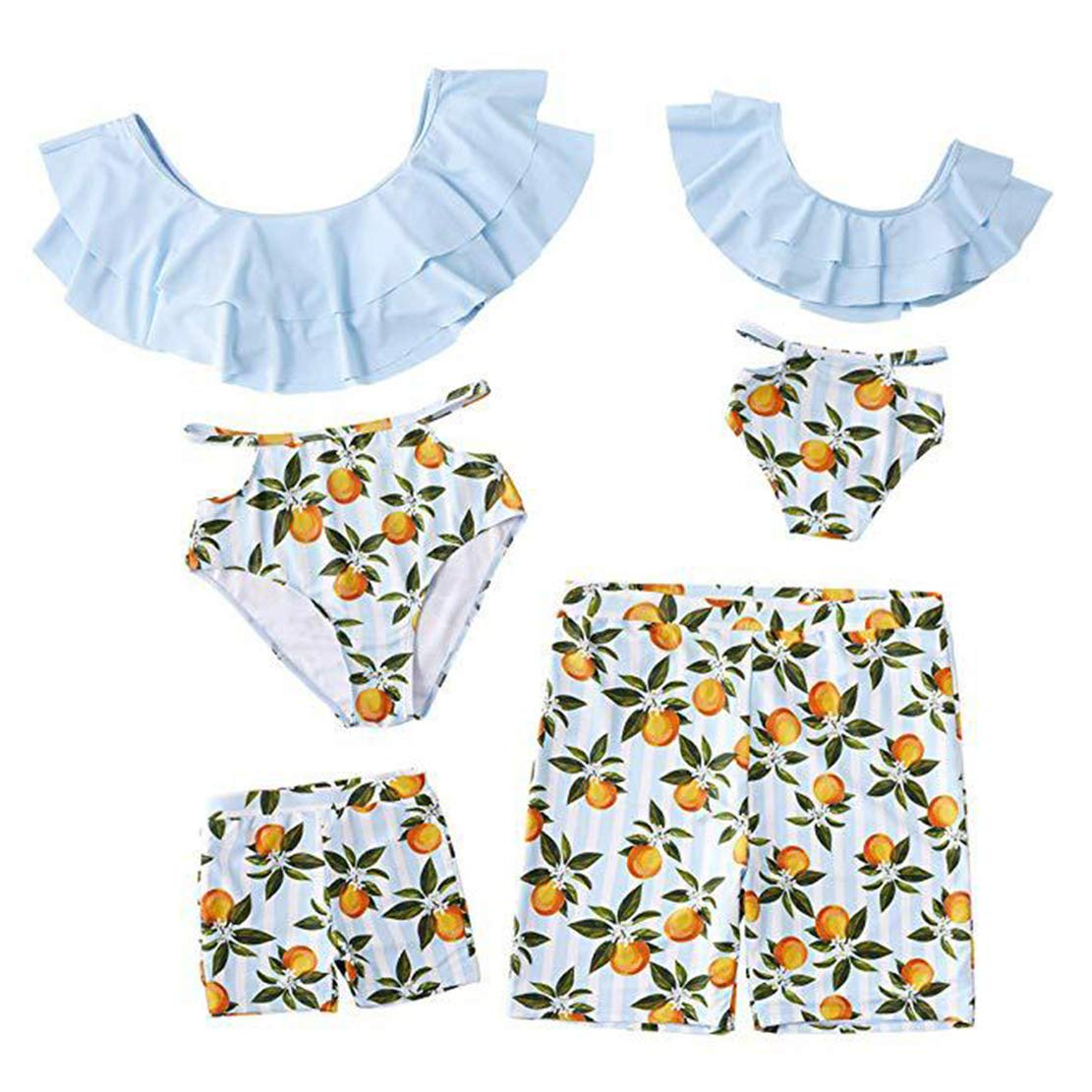 Conjunto Familiar Traje de Ba/ño 2 Pieza Bikini Madre e Hija Traje de Ba/ño Padre e Hijo Ba/ñador Imprimiendo Primavera Verano