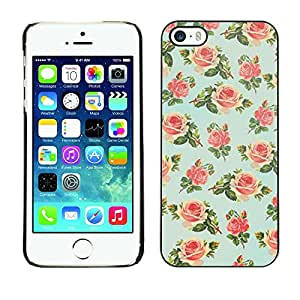Plastic Shell Protective Case Cover || Apple iPhone 5 / 5S || Floral Rose Wallpaper Retro @XPTECH