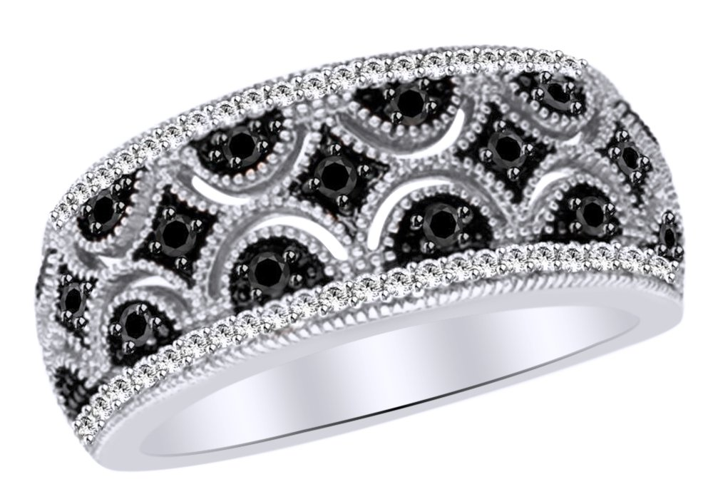 Black & White Natural Diamond Quilt Anniversary Ring In 14k White Gold Over Sterling Silver (0.33 Cttw) Ring Size-4