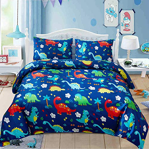 LAMEJOR Duvet Cover Sets Queen Size Cartoon Dinosaur World Pattern Bedding Set Comforter Cover (1 Duvet Cover+2 Pillowcases) Blue ()