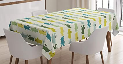 Cartoon Horse Cotton Linen Decor Tablecloth Kitchen Dinner Table Top cover