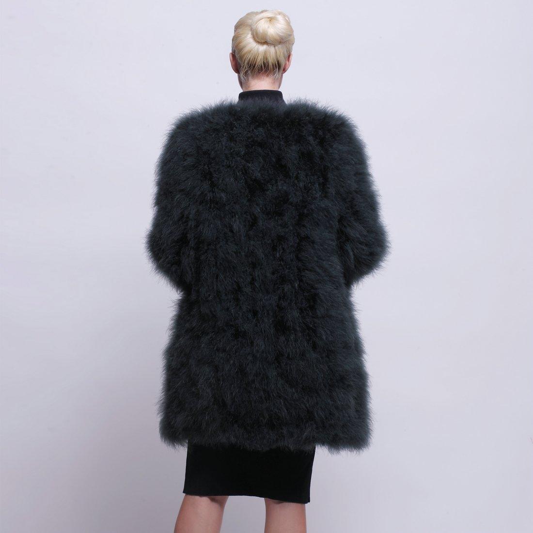 URSFUR Women Winter Jacket Real Ostrich Feather Fur Coat Opal Green XL by URSFUR (Image #3)