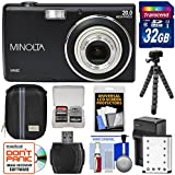 Minolta MN5Z 20MP HD Digital Camera (Black) with 32GB Card + Battery & Charger + Case + Tripod + Kit