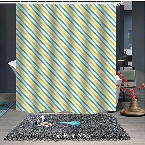 - SCOXIXI Home Decor Shower Curtain,Striped Pattern with Tropical Tones Diagonal Stripes Design Abstract Decorative,for Master,Kid's,Guest Bathroom,Standard(70.86
