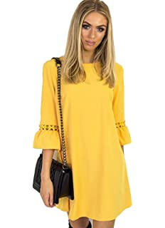 2d3a5a6fbdb0 Aitos A Linie Kleider Damen 3 4 Arm Sommerkleid Tunika Elegante Minikleider  Strandkleider Partykleid Schick