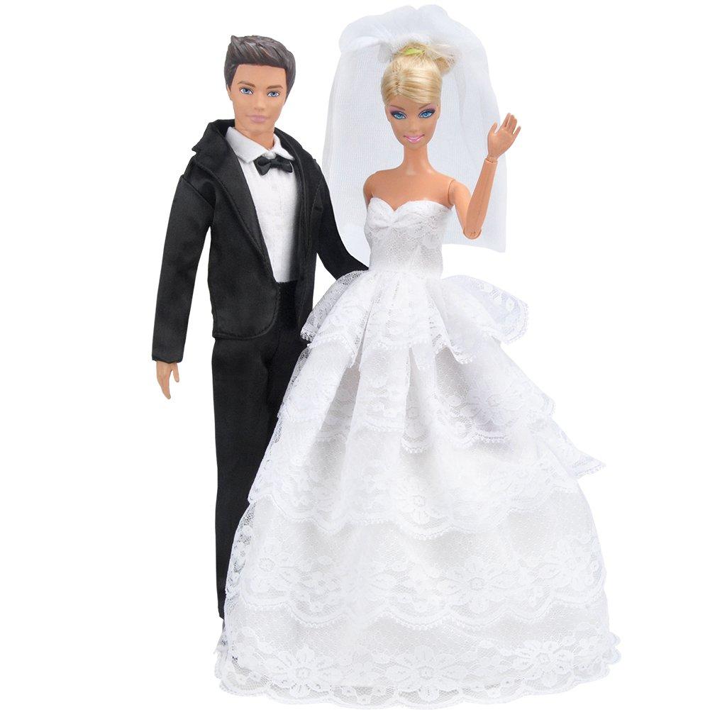 Amazon.es: E-TING Princesa Vestido noche Fiesta Encaje Blanco Vestido Fiesta Bordado Barbie ropa de la boda con velo traje traje traje Formal + Set para ...