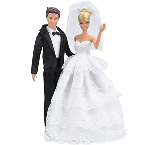 6eae731686 E-TING Princesa Vestido noche Fiesta Encaje Blanco Vestido Fiesta Bordado  Barbie ropa de la