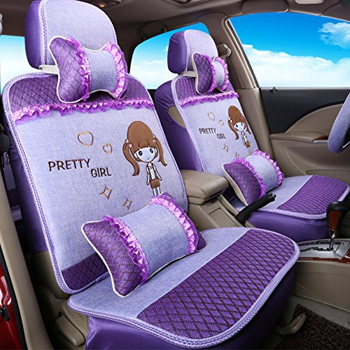 ANKIV Purple FULL SET Universal Fit 5 Seats Car Women Cute Cartoon Little Pretty Girl Lace Cotton Front and Rear Car Seat Covers Protectors Lovely Romantic Auto Seat (Pretty Cartoon Girls)
