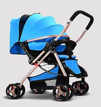 Cochecitos de bebé de dos vías cochecitos de aluminio ligero plegable portátil de cuatro ruedas cochecitos para 0-36 meses , Blue: Amazon.es: Deportes y ...