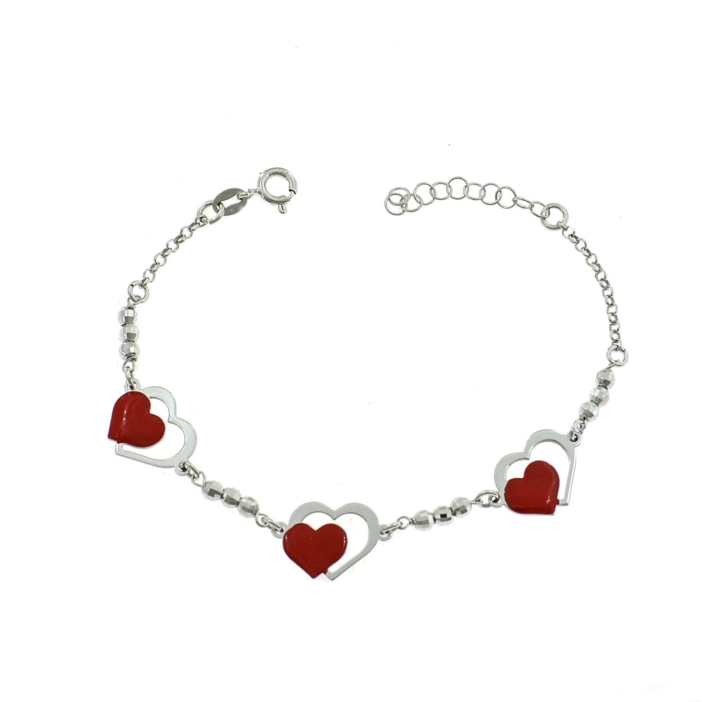 57dd8b919e3f Pulsera con bolas Diamante y corazones Semi smaltati Color Rojo
