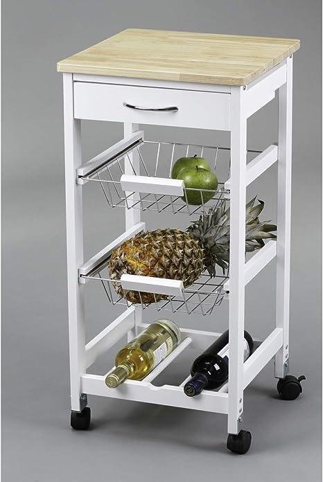 Image ofKit Closet 7040028002 - Carro de cocina con cestas + botellero, madera, 37 x 37 x 76 cm