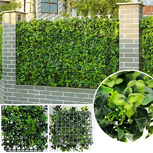 ULAND Artificial Ivy Hedging Panels, Greenery Topiary Privacy Fence Screening, Wall Outdoor Decoration Pack of 6pcs 20