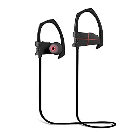 Auriculares Bluetooth Canbor Auriculares 4.1 Inalámbricos Negros con Sonido Estéreo para Deporte, reducción de ruido