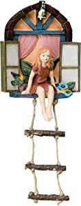 Fairy House with Ladder Hanging Tree Sculpture,Outdoor Tree Statue Fairy Houses for Gardens Outdoor,Outdoor Yard Art