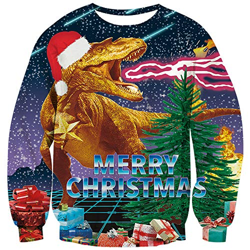 Mens Sweater 1970s (TUONROAD Unisex 70s Cute Ugliest Christmas Sweater Green Tree Gifts Galaxy Space Falling Star Merry Christmas Dinosaur Fire 3D Printed Pullover Jumpers Novelty Long Sleeve Crew Neck Xmas Sweatshirt)
