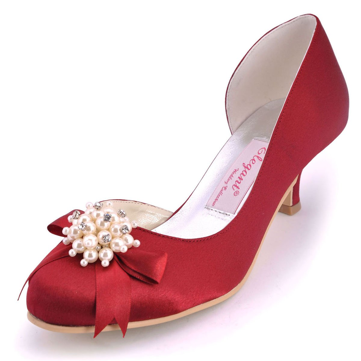 ElegantPark 100114 Women's Round Toe Middle Heel Pearls Bow Satin Evening Party Dress Pumps Burgundy US 6