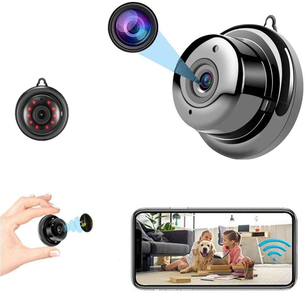 Mini Camera Nanny cam Spy Camera with Audio, Home Surveillance Camera, Two-Way Voice and Video Call, 1080P IP HD Infrared Night Vision Motion Detection Reminder, for Home Car Indoor Outdoor Security