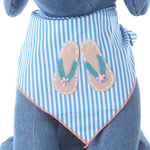 Tail Trends Dog Bandanas With Flip Flops Design for BBQ Beach Days Fits Medium to Large Sized Dogs- 100% Cotton