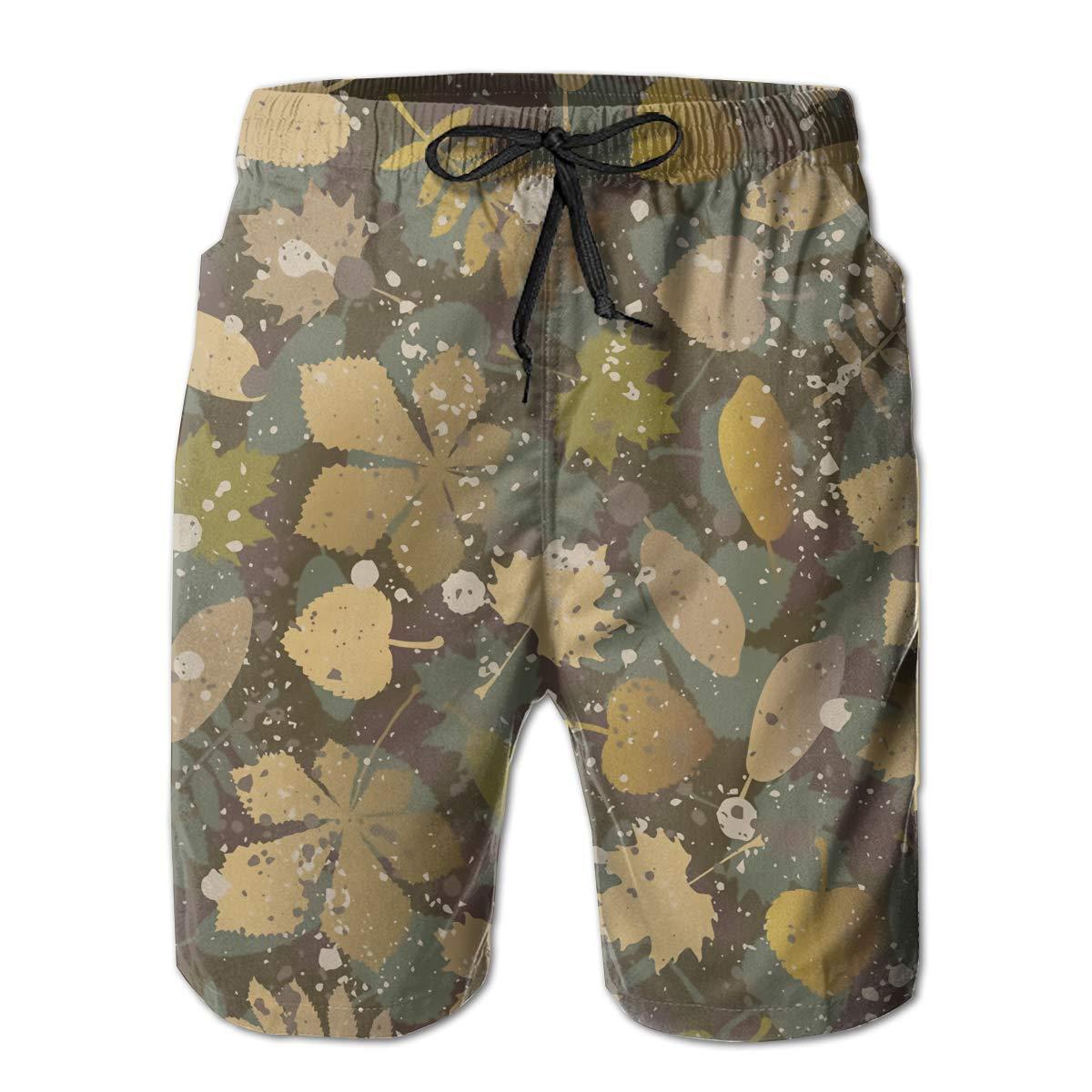 SARA NELL Mens Swim Trunks Camouflage Camo Fallen Leaves Surfing Beach Board Shorts Swimwear