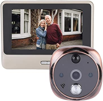 WiFi Wireless Door Camera Peephole Viewer with IR Night Vision Function//Taking Photo//Video Record//PIR Motion Sensor Supports App for Android//I0S ASHATA Smart Video Doorbell