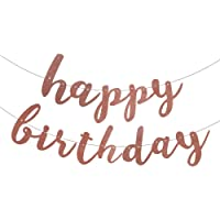 Jblcc Rose Gold Glittery Happy Birthday Banner for Birthday Decorations