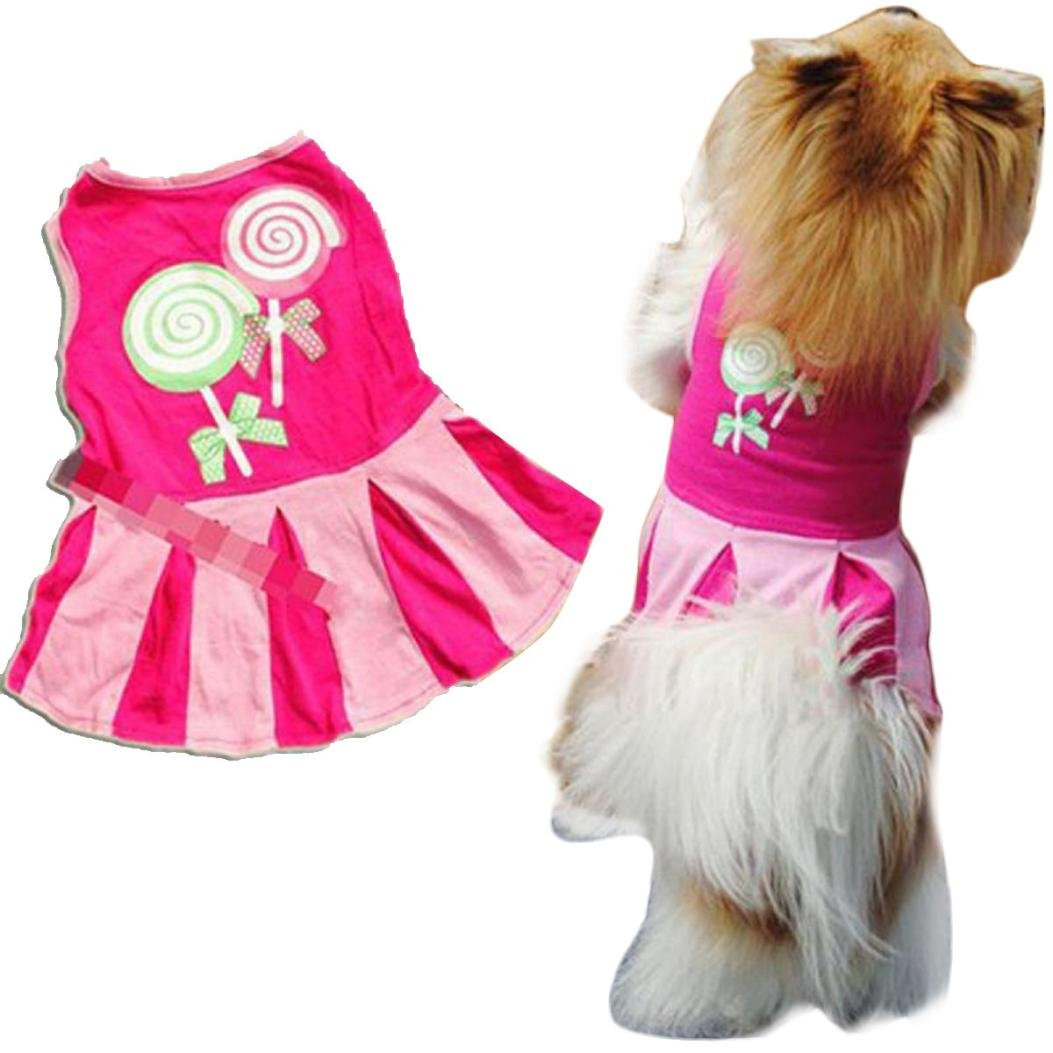 YOMXL Candy Lollipop Pattern Pet Dress Puppy Elegant Lovely Vest Clothes Outfit Party Skirt Summer Dress (S, Hot Pink)