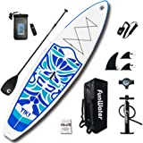 """FunWater Inflatable 320cm(10'6)×84cm(33"""")x15cm(6"""") Ultra-Light (7.9kg/17.6lbs) SUP for All Skill Levels Everything Included with Stand Up Paddle Board, Adj Paddle, Pump, ISUP Travel Backpack, Leash, Repair Kit, Waterproof Bag"""