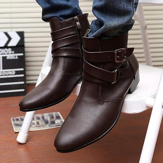 LILICAT❋ Botas Altas de Color Liso Botas de Hebilla de ...