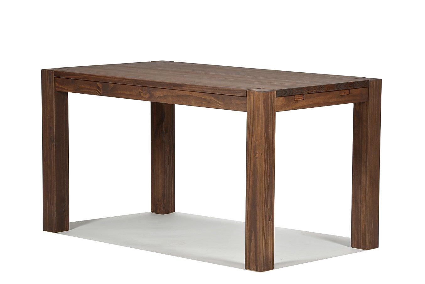 Esstisch Rio Bonito 140x80 cm, Pinie Massivholz, geölt und gewachst, Holz Tisch für Esszimmer, Wohnzimmer Küche, Farbton Cognac braun, Optional  passende Bänke und Ansteckplatten