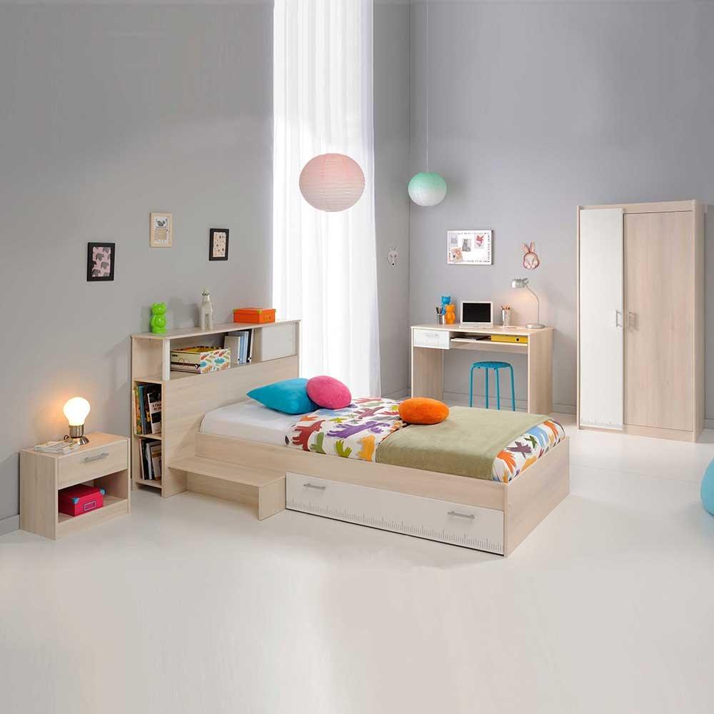 Pharao24 Jugendzimmermöbel Set mit Stauraumbett Weiß Akazie