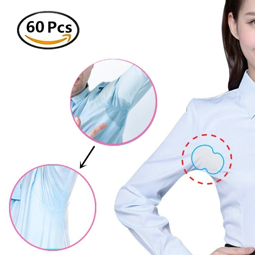 Disposable Underarm Sweat Pads - Fight Hyperhidrosis Underarm Armpit Sweat Pads Shield for Women and Men 60 PCS(30 Pair Individually Wrapped)