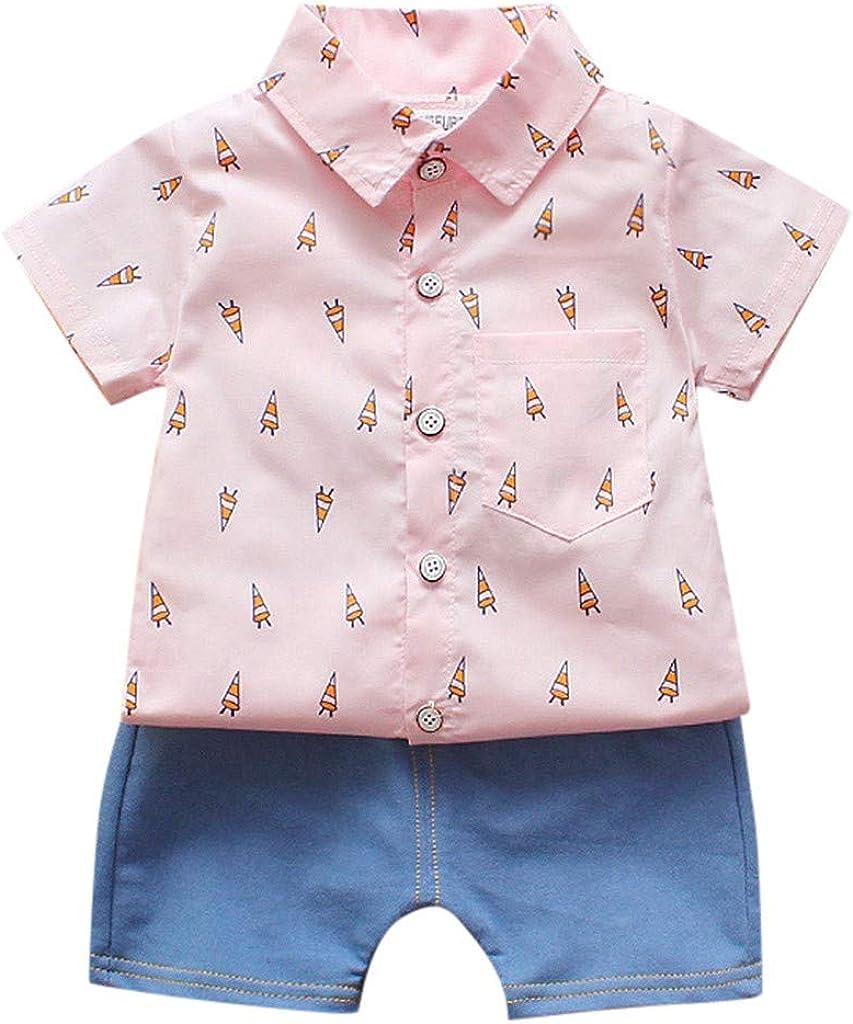 Waymine Toddler Cartoon Rocket Print T-Shirt Tops+Jeans Outfits Baby Boys Set