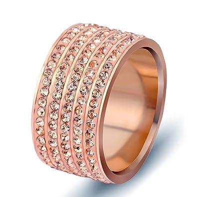 Amazon.com: lilileo joyas 12 mm. Oro Rosa Anillo De Acero ...