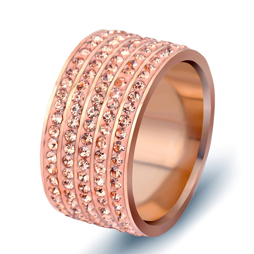 LILILEO Jewelry 12mm Rose Gold Stainless Steel Ring Inlaid With 5 Rows Of Zircon For Women's Rings by LILILEO