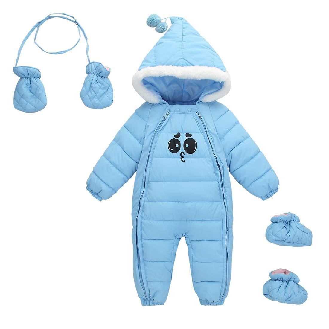 Aivtalk Toddler Baby Boys Winter Jumpsuit Zipped Hood Snowsuit One Piece Warm Solid Bodysuit Clothes For 24-30 Months Light Blue by Aivtalk