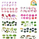 11 Sheets 3D Simulation Resin Decorative Sticker, 6 Sheet 3D Simulation Fish Leaves& 5 Sheet 3D Petal Koi Pond Clear Film Sticker, Resin Decorative Sticker DIY Mold for Painting Jewelry Making