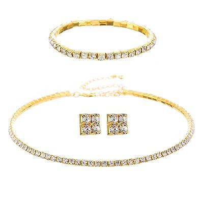 FANCY LOVE Circle Crystal Rhinestone Bridal Necklace Earrings and Bracelet Jewelry Sets sPaI7vmPN