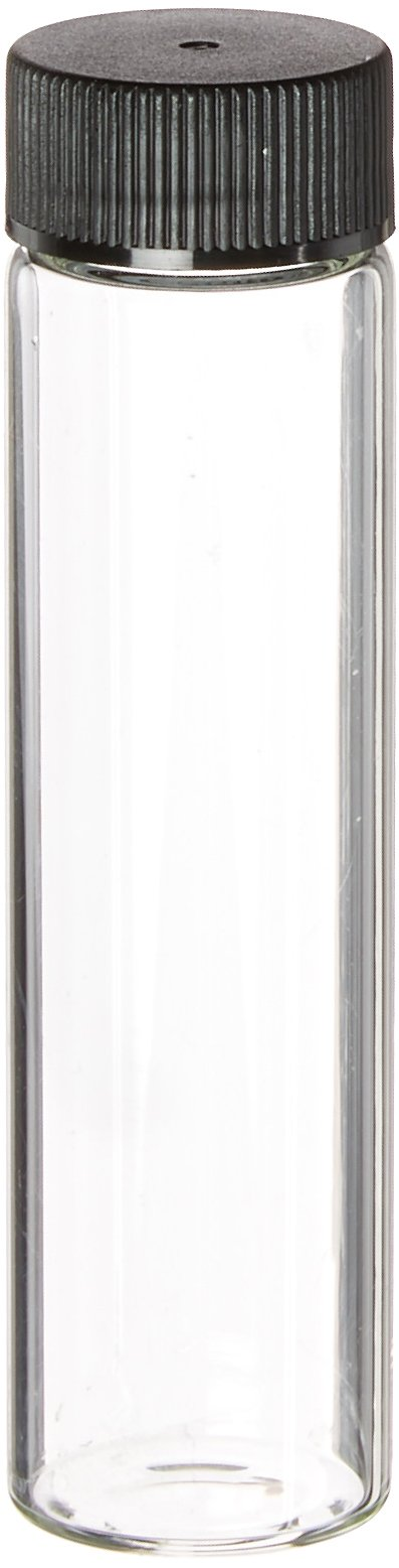 JG Finneran 824020-2385 Borosilicate Glass Dram Sample Vial with Solid Top Cap and PTFE/F217 Septa, Clear, 6 Dram Capacity, 23mm Diameter x 85mm Height (Case of 100)