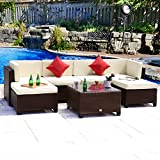 Cloud Mountain 7 PC Patio Outdoor Rattan Wicker Sectional Set Backyard Furniture Conversation Set Outdoor Patio Garden Sofa Loveseat, Cocoa Brown Rattan Beige Cushions For Sale