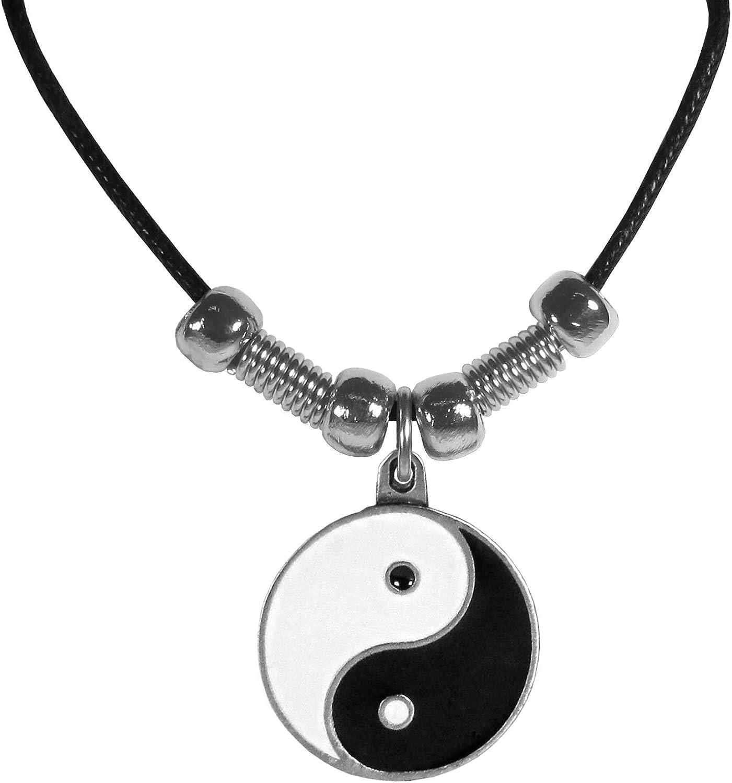 Black Leather Yin Yang Necklace