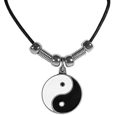 Amazon yin yang pendant beaded black leather necklace jewelry yin yang pendant beaded black leather necklace aloadofball Images