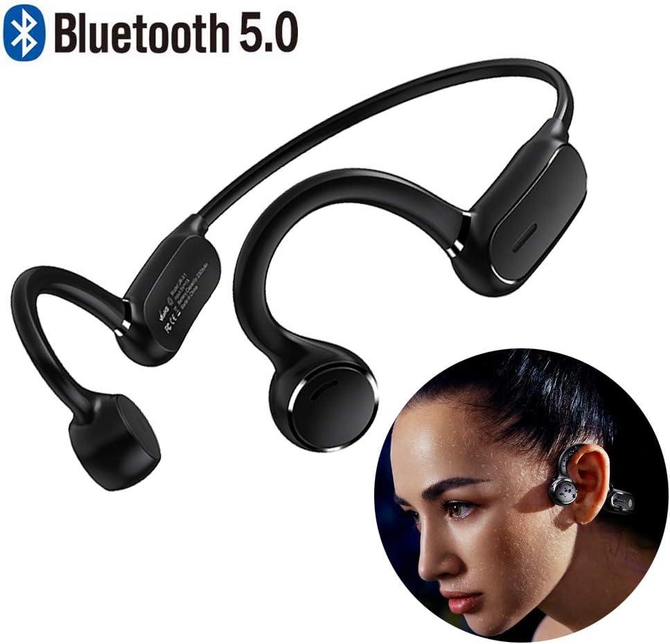 Braveking1 Auriculares de Conducción Ósea Cascos Deportivos Control Tactil Bluetooth Open-Ear Impermeable Estéreo Inalámbricos con Microfono para Trotar Ciclismo Conducir y Estado Físico,Negro