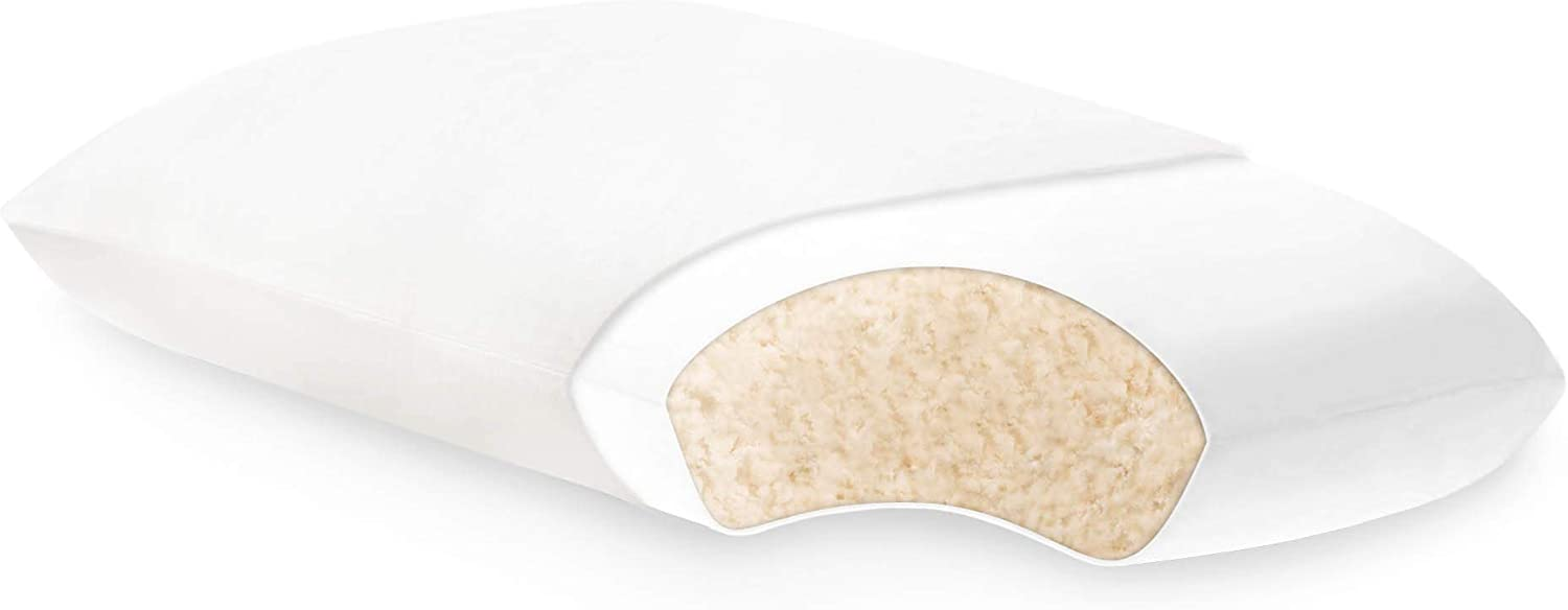 Z ZZKK00SX Malouf Shredded Latex Pillow with 100 Percent Natural Cotton Cover – Sustainable Materials – Quick Loft Recovery – Moldable Support, King, White