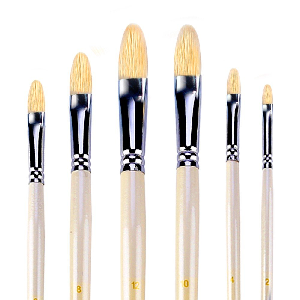 Filbert Brushes for Acrylic Oil Watercolor by Amagic 6 Pcs Artist Face and Body Professional Painting Kits with Hog Bristle Tips GUANMAXUN 4336956008