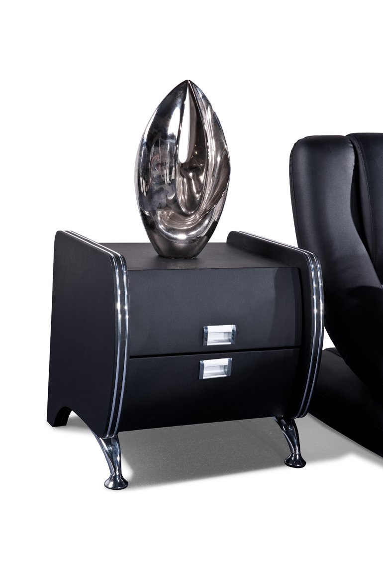 Black US Pride Furniture Dona Faux Leather Contemporary Nightstand, Black