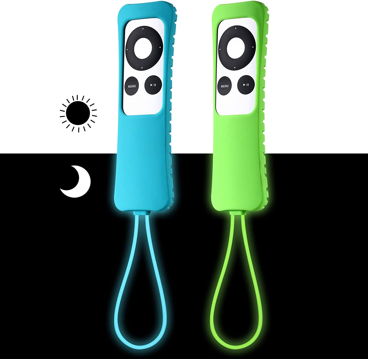 [2 Pack] ZYF Case for Apple TV 2 3 Remote, Anti-Drop, Anti-Lost Silicone Protective Cover for Apple TV 2nd Gen / 3rd Gen Remote Controller - Sky Blue Glow & Green Glow
